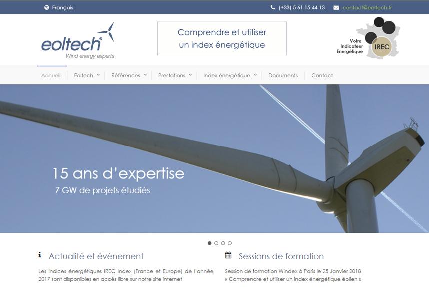 Création et développement WordPress sur mesure du site Eoltech Toulouse, intégration template wordpress, design internet