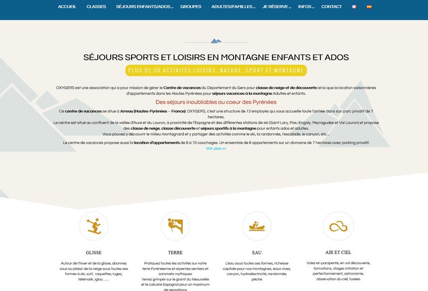 Création du site web Oxygers avec boutique de vente Woocommerce, centre de vacances hautes pyrénées, déveloopement wordpress