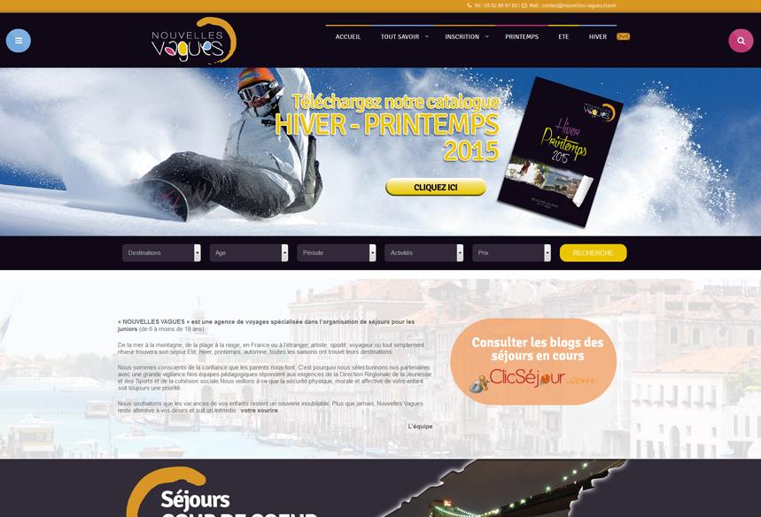 Conception site Web wordpress, agence voyage nouvelles vagues Toulouse, Webdesign et intégration thème WordPress, création web agence de voyage