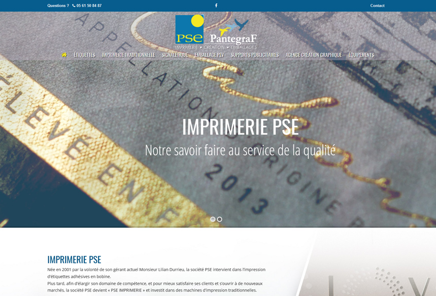 Webdesign et réalisation du site internet, PSE Imprimerie à Auterive Toulouse, création site wordpress