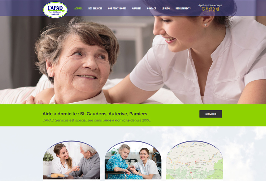 Web design du site Capad services aide à domicile haute garonne, studio webdesign toulouse, graphisme web, conception wordpress