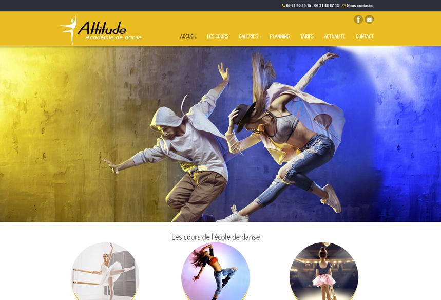 création webdesign site wordpress, attitude academie danse colomiers, créateur wordpress, création logo et indentité visuelle