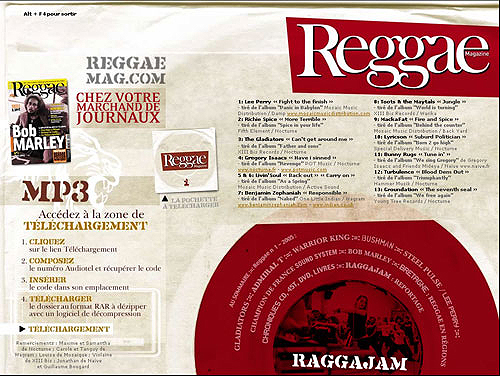 creation digitale sampler reggae magazine, conception landing page photoshop, intégration et développement web CSS