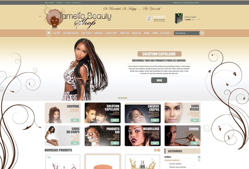 Conception et réalisation du site e-commerce de ventes en ligne Tamelia Beauty Shop