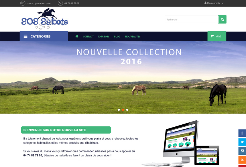 Conception site ecommerce SOSABOTS magasin matériel équitation et centre équestre
