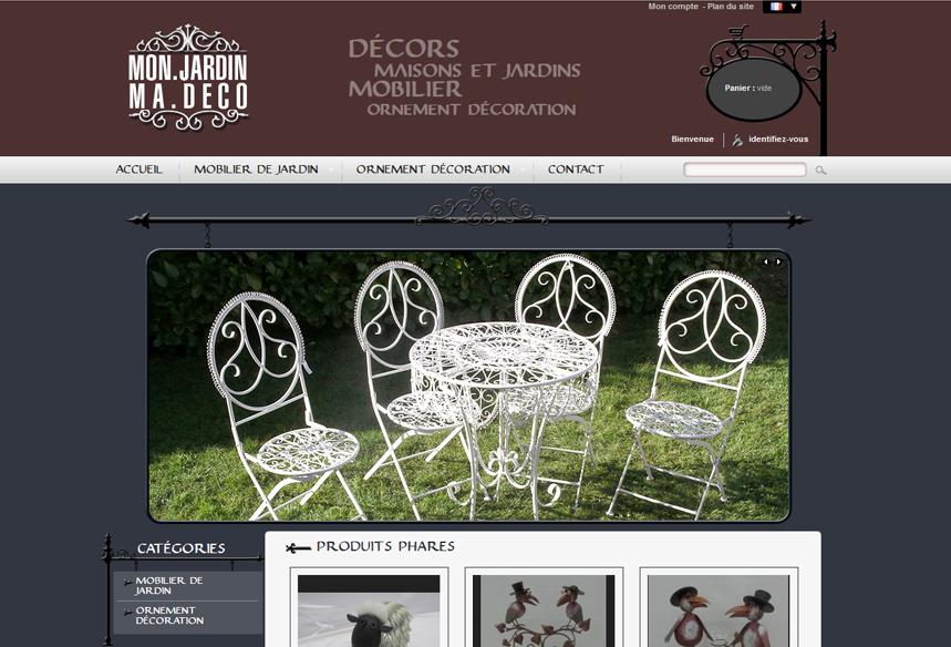 Refonte de la boutique de vente en ligne Mon Jardin Ma Deco avec Prestashop, mobilier et deco de jardin en Seine et marne