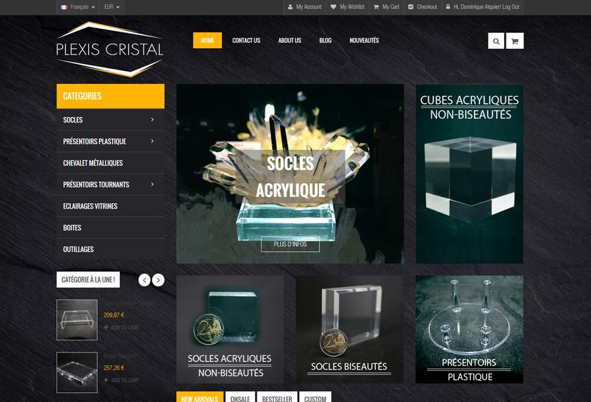 Conception du site ecommerce Plexi Cristal et création de l'identité visuelle, consulting ecommerce à toulouse, intégration prestashop, prestataire prestashop