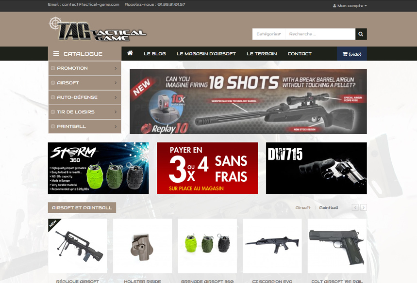 refonte boutique e-commerce magasin paintball airsoft Tactical Game Paris