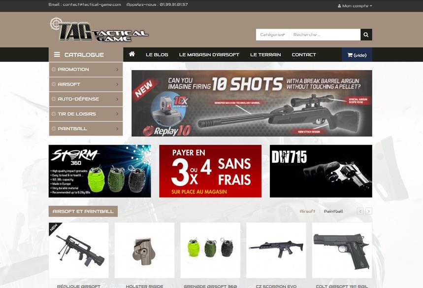 refonte boutique ecommerce Prestashop, boutique paintball airsoft Tactical Game Paris Ile de France, webdesign et création graphique web, intégration et développement web