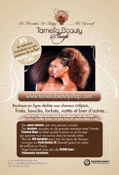 Conception de flyer A5 tamelia beauty shop cosmétique Paris, création graphique print, studio graphique Toulouse
