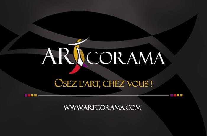 Charte graphique et création logo Artcorama, vente d'art contemporain - Paris, Ile de France