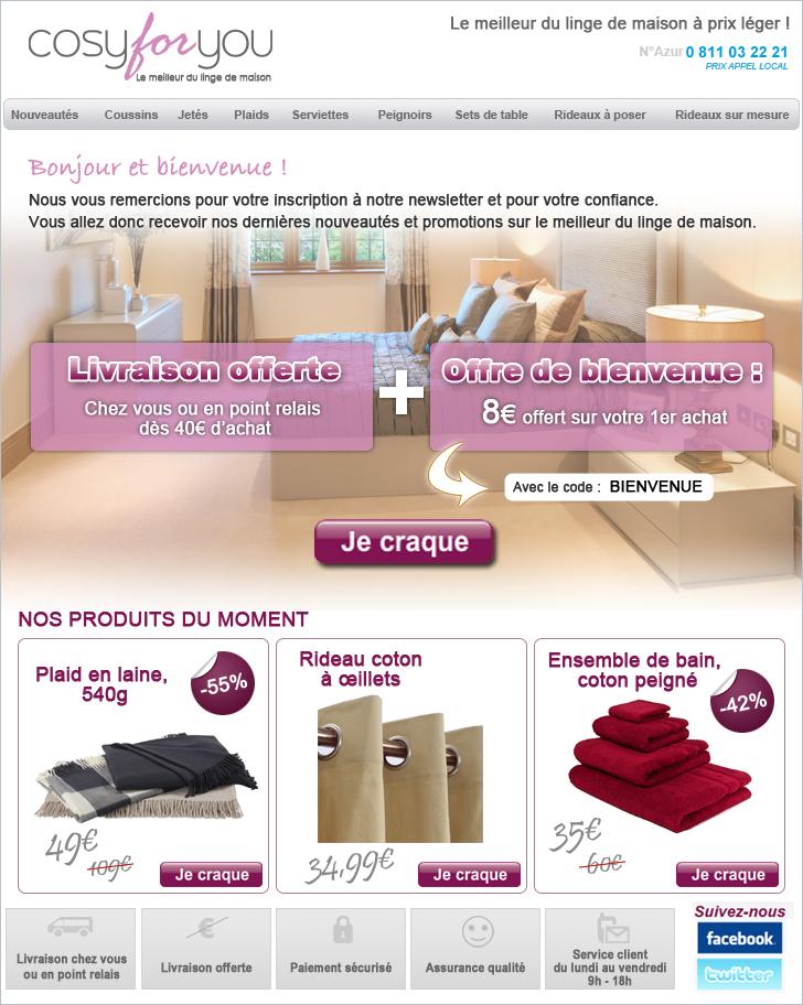 Création newsletter cosy for you, réalisation d'emailing graphique optimisé pour le web, studio graphique web