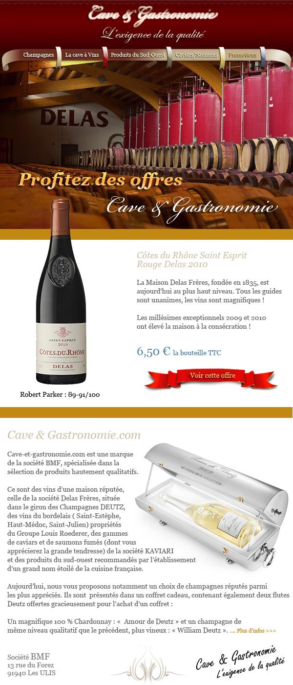 Conception Newsletter et intégration HTML, création photoshop et graphisme web - Lettre d'information Cave et gastronomie Paris