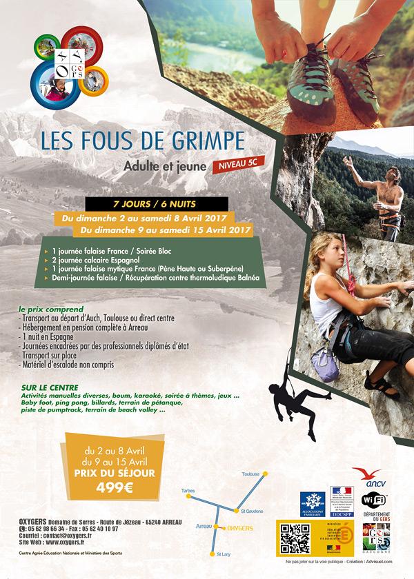 création graphique flyer, Oxygers séjours escalade centre de vacances hautes Pyrénées, marketing touristique