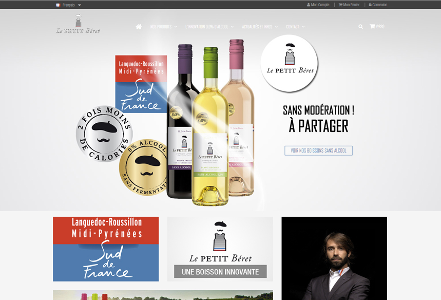 développement prestashop sur mesure boutique le petit beret vins sans alcool caviste et oenologue