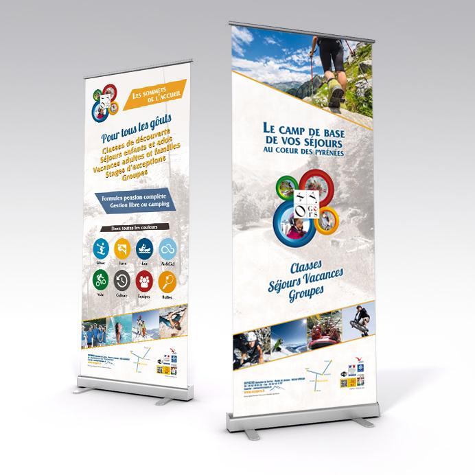 Studio graphique Toulouse en conception de kakemono rollup et création graphique, panneaux publicitaire événementiel
