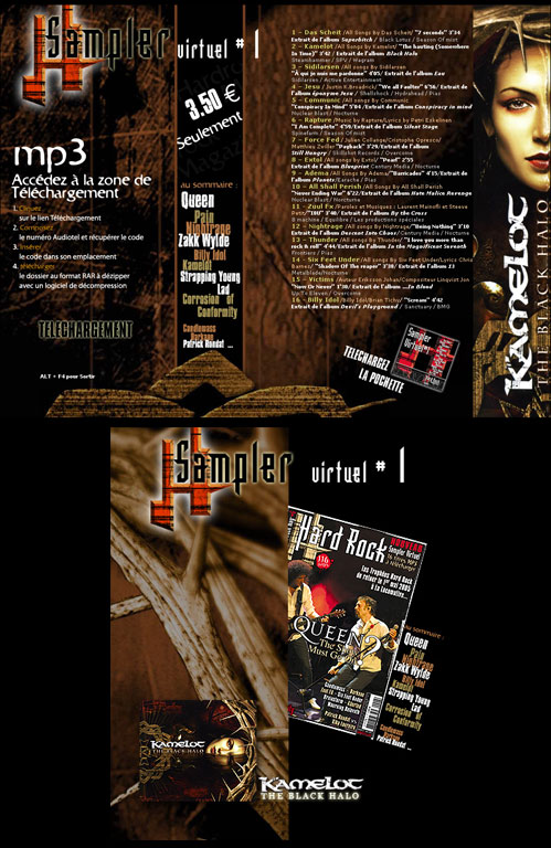 Réalisation landing page web design, création graphique et composition photoshop - Sampler virtuel Hard Rock Magazine Paris