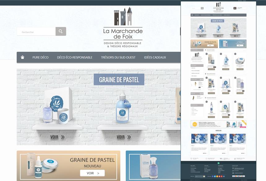 intégration et création du site ecommerce prestashop, la marchande de foix, développement site prestashop, agence prestashop toulouse