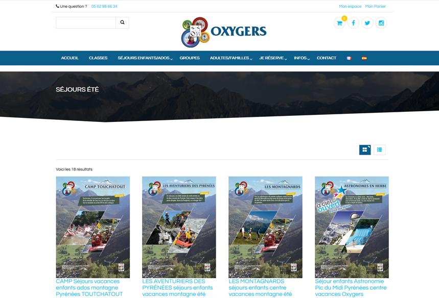 création ecommerce woocommerce, centre de vancances hautes pyrénées Oxygers, boutique en ligne woocommerce wordpressoxygers