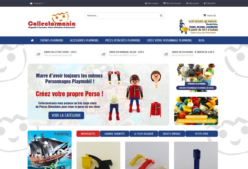 Refonte et mise à jour prestashop boutique playmobil Collectormania, développement prestashop, migration prestashop et design template et thème