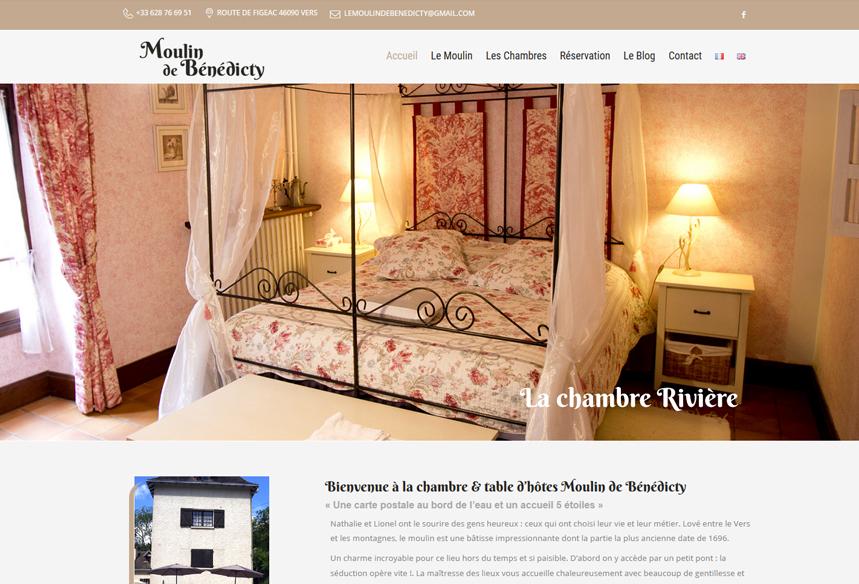 Création site internet chambres d'hôtes et restaurant Moulin de Benedicty, développement WordPress site internet hôtel et gîte, design graphique hostellerie