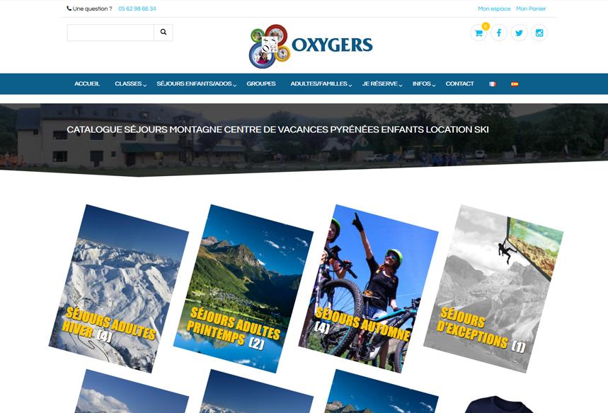 Création du site web Oxygers avec boutique de vente en ligne Woocommerce, centre de vacances hautes pyrénées, dévellopement wordpress