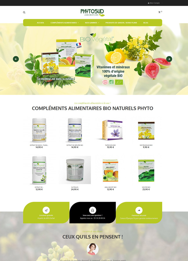 site e-commerce création phytosud